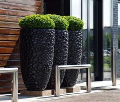 alluring modern garden pots with stone material