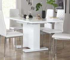 alluring osaka white dining table gloss and 6 chairs renzo