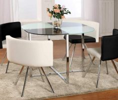 alluring round glass dining table with black and white 4 chairs