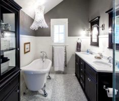 amusing black and white traditional bathroom designs with crystal chanderlier