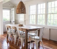 amusing modern farmhouse dining table with dark hardwood and rattan chandelier