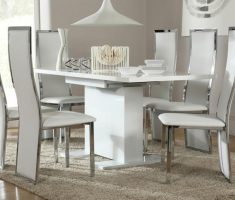 amusing osaka white dining table gloss and 6 celeste chairs