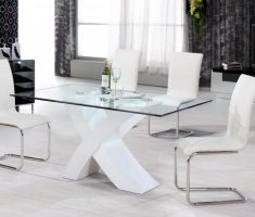 amusing white glass dining table and 4 perth chairs