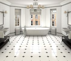 appealing big modern bathroom with black and white bathroom tiles theme