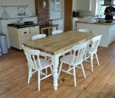 appealing modern farmhouse dining table with white chairs