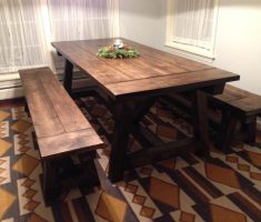 appealing reclaimed farmhouse dining table with bench