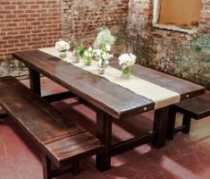 appealing rustic farmhouse dining table reclaimed with bench
