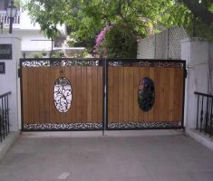 artistic front gate designs wood and metal materials