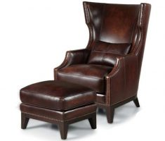 big leather high back chair with ottoman
