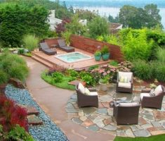 backyard landscaping ideas with seating area and small pool