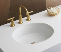 beautiful ovale undermount bathroom sinks shape with gold sink