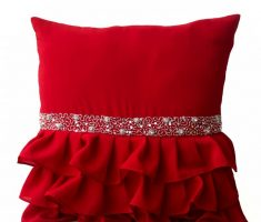beautiful red throw pillow covers design with silver lace like red skirt