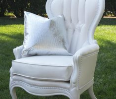 beautiful white high back chair with arm for queen
