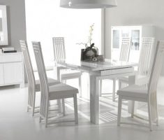 beauty small white dining table with 6 chairs