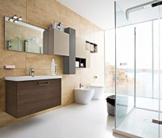 big beige tile wall bathroom tiles and white florr