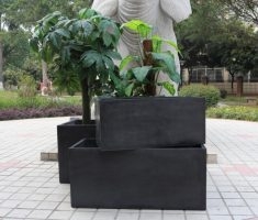 black modern garden pots for outdoor