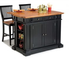 black modern kitchen island cart with stools seating