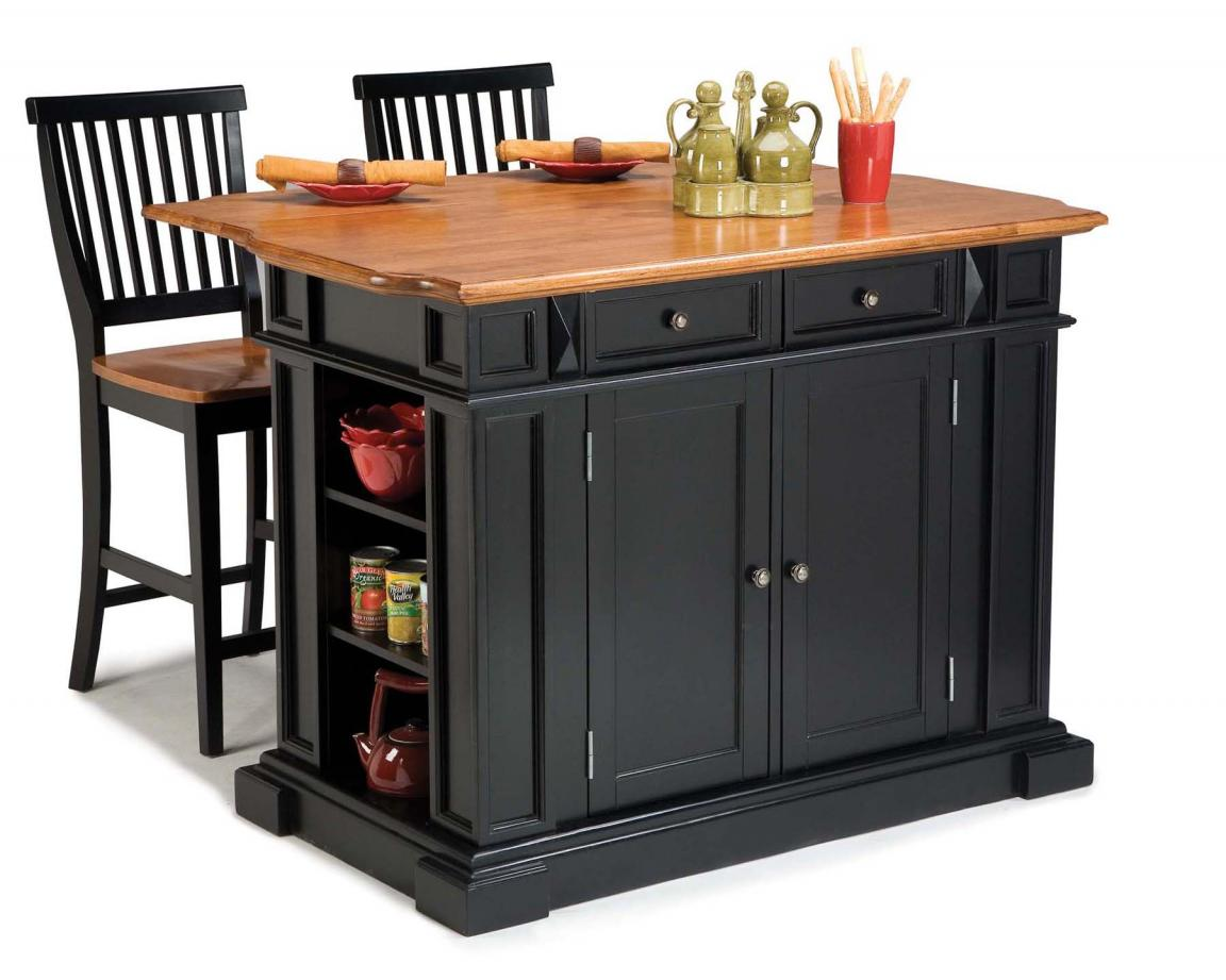 black-modern-kitchen-island-cart-with-stools-seating