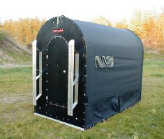 black small portable ice fishing house