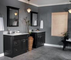 black traditional bathroom designs with wooden black vanity sink