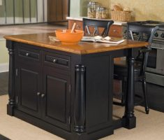 black wood kitchen island cart with chair seating