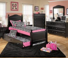 black and pink girls double bedroom furniture