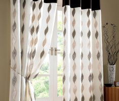 black and white patio door curtain with nice patern curving