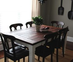 black and white rustic farmhouse dining table for small space