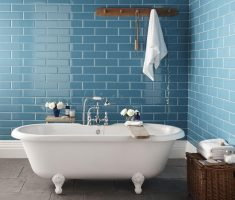 blue bathroom tiles wall and white tile flooring for small bath