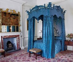 blue gothic canopy beds for small modern bedroom