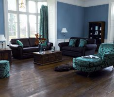blue pasta paint colors for living room with dark furniture