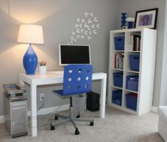 blue table drum formed light shade designs for small home office