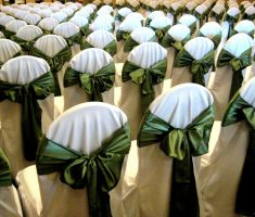 bridal folding chair covers with green ribbons