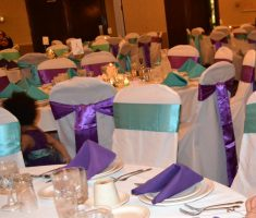 bridal folding chair covers with white and purple ribbons