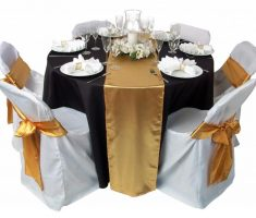 bridal white folding chair covers with gold ribbon