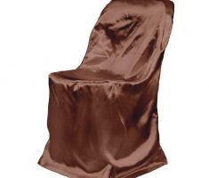 brown satin folding chair covers