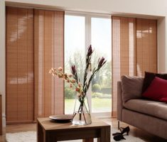 brown sliding curtain for window treatments for sliding glass doors