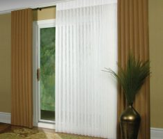 brown and white curtains for sliding glass doors