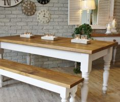 brown and white modern farmhouse dining table with bench