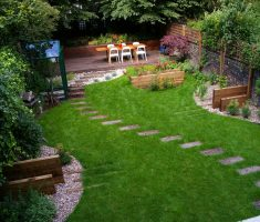 captivating backyard landscaping ideas with step path and dining area