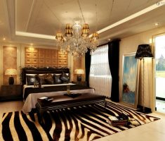 captivating master bedrooms decoration with zebra rug and glass chandelier