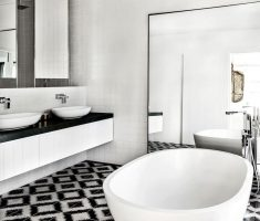 captivating modern bathroom decor with black and white bathroom tiles