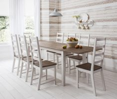 captivating wooden white dining table and chairs with brown colors