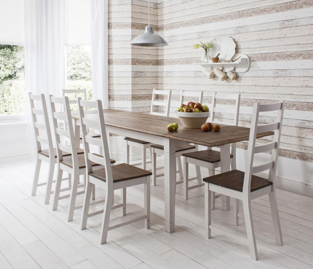 Captivating-wooden-white-dining-table-and-chairs-with