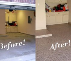 cheap epoxy garage floor before after