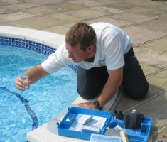 check the adicity water for maintenance swimming pool