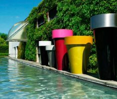 cheerful modern garden pots wit custom colours