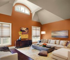 cheerful orang and ivory white paint colors for living room