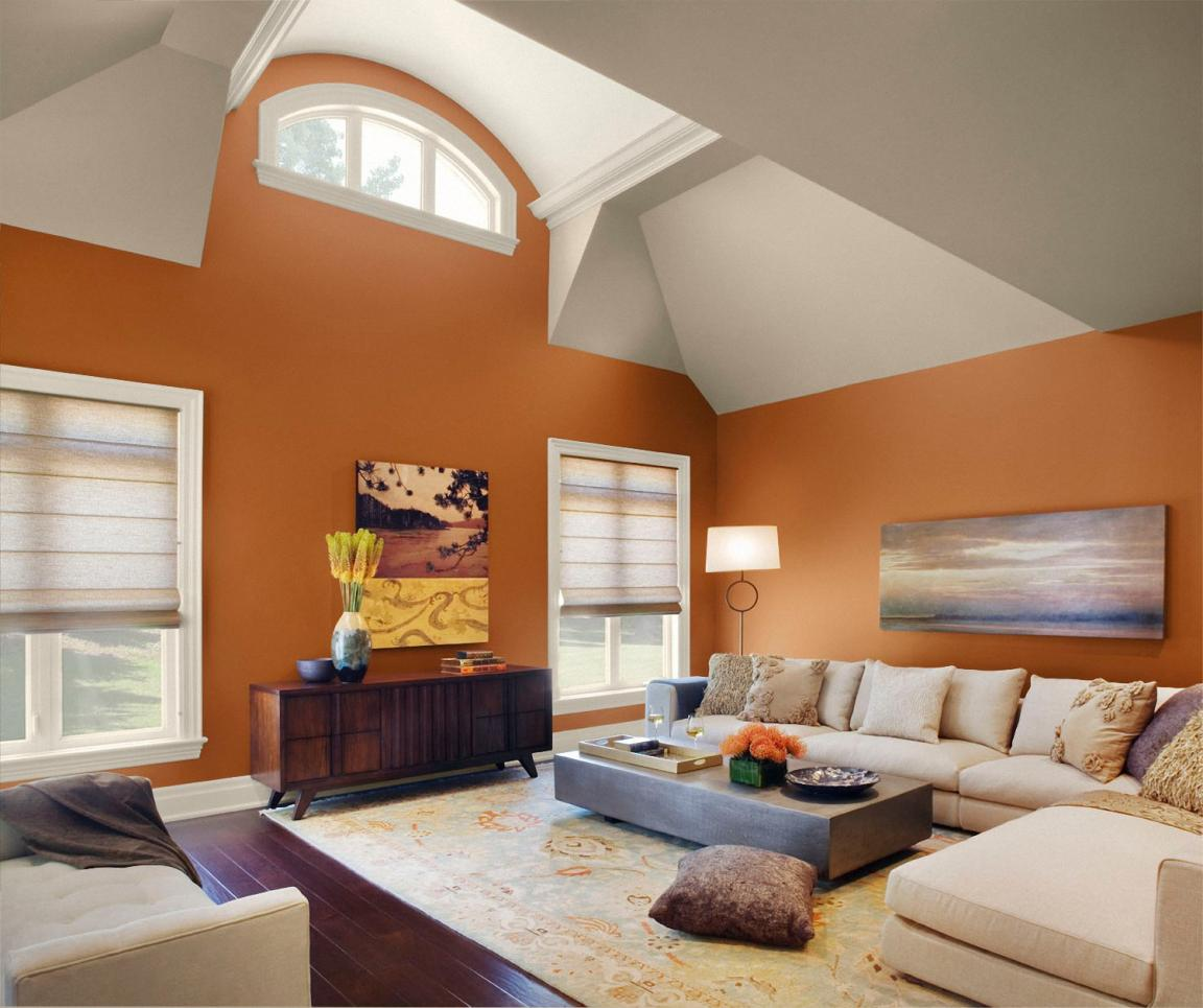 cheerful-orang-and-ivory-white-paint-colors-for-living-room