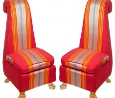 cheerful red high back chair with strippes yellow